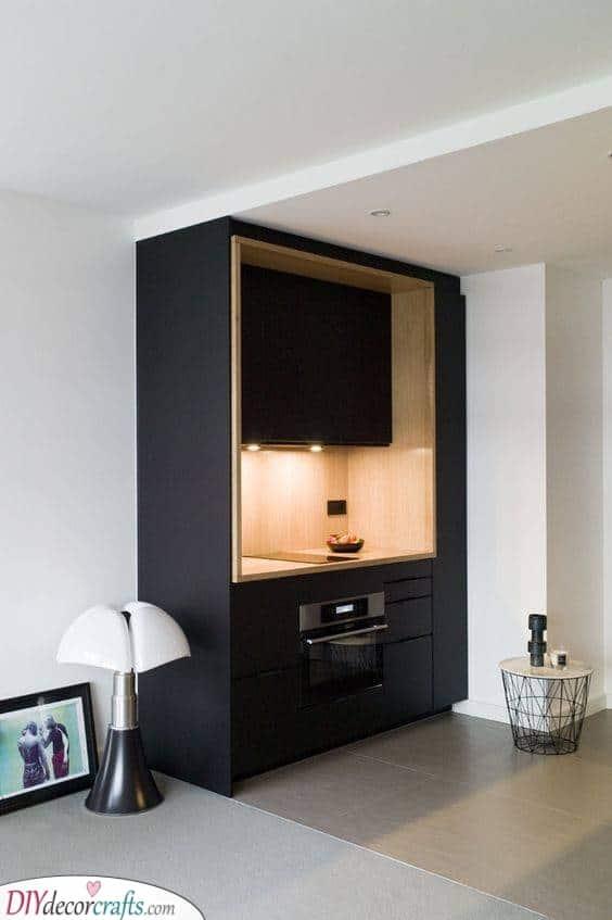 Brilliant in Black - Small Kitchen Cabinet Ideas